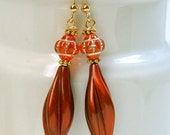 Vintage Carnival Glass Orange Czech Bead Earrings, German Cinnamon Twist Lucite,Gold