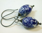 Vintage Chinese Hand Painted Porcelain Lapis Blue White Flower Bead Earrings,Handmade Oxidized Sterling Silver Ear Wires