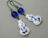 Vintage Chinese White Blue Delft Porcelain Vase Bead Earrings ,Vintage Cobalt Blue Glass - Kangxi Flower