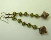 Vintage Japanese Lime Green Brown Glass Bead Earrings ,Brass- Wasabi Peas