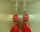Vintage Red White Japanese Lucite Bead Earrings, German Cherry Red Beads