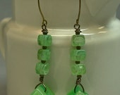 Vintage Bead Earrings CUBISM - Japanese Layered Green Striped Lucite,German Mint Glass