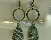 Vintage Tiger Striped Moss Jasper Teardrop Stone Bead Earrings, Brass Hoops