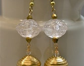 Vintage Japanese White Lucite Flower Bead Earrings,Gold Crystal - Byzantine Ice