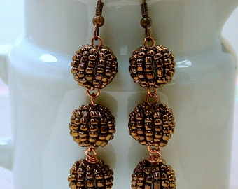 Vintage Japanese Copper Berry Bead Beaded Seed Beads Dangle Drop Earrings - Kusari-Doi