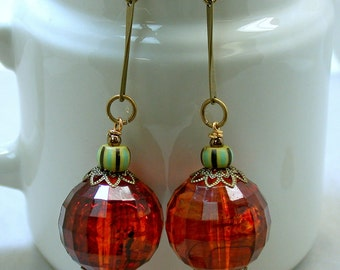 Vintage Amber Lucite Dangle Drop Faceted Bead Earrings ,Vintage Green Italian Cane glass