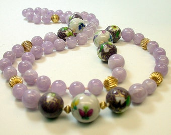 Vintage Amethyst Bead Necklace, Vintage 1970s Purple Cloisonne, Vintage Butterfly Chinese Porcelain Beads