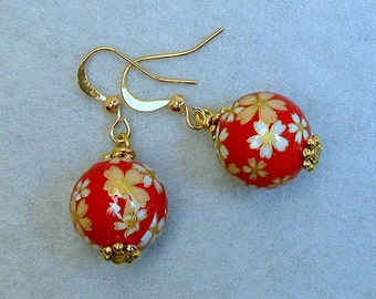 Vintage Japanese Tensha Bead Dangle Drop Red Yellow Daisy Earrings, Gold French Ear Wires - Akane