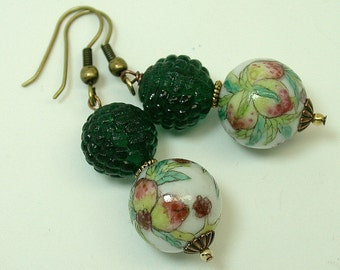 Vintage Chinese Porcelain Dangle Drop White Pink Peaches Bead Earrings, Vintage German Green Glass Beads -Hakuto
