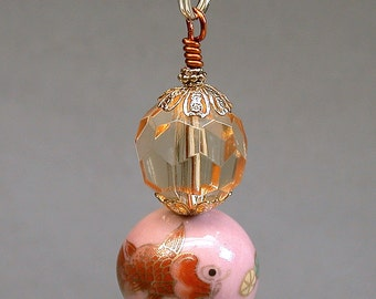 Vintage KOI FISH Orange Pink Bead Fan Light Pull Chinese Porcelain , Vintage Orange Faceted Lucite