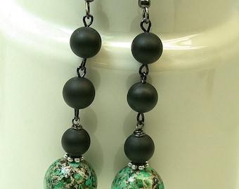 Vintage Japanese Tensha Bead Dangle Drop Turquoise Black Earrings , Black Crystal  Beads -Tobikko