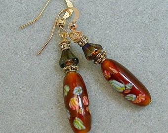 Vintage Japanese Millefiori Dangle Drop Bead Earrings - Amber Brown Glass, Vintage German Iridescent Glass Beads,Gold