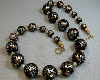 Vintage Japanese Tensha Bead Necklace, Black,Turquoise ,Purple Iridescent, Vintage Austrian Gold Foil Crystal Beads - GIFT WRAPPED