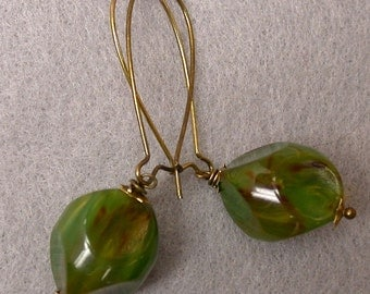 Vintage Lucite Jade Green Bead Dangle Drop Earrings, Long Brass Kidney Ear Wires - Agave - GIFT WRAPPED
