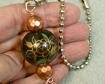 Vintage Chinese Porcelain Bead  Black Burgundy Gold ROSE Light Fan Pull