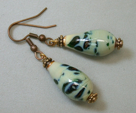 RESERVE JANE Vintage Bead Earrings Handmade Enameled Copper Teardrop