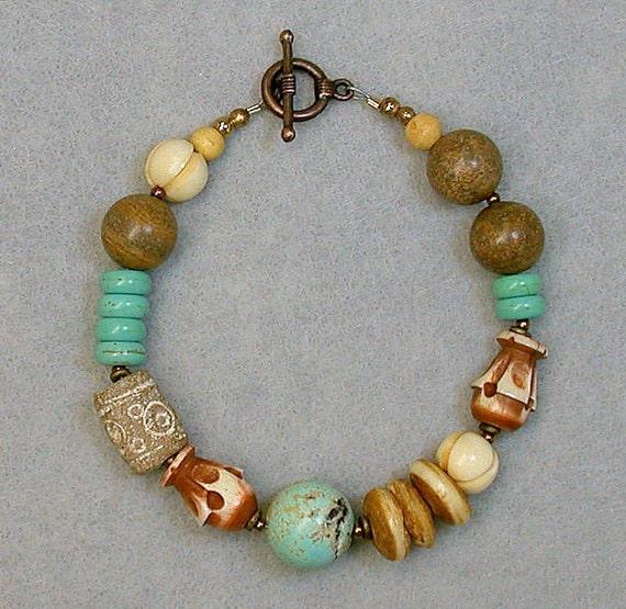 Vintage Turquoise Bead Bracelet ,Israeli Sandstone,Picture Jasper,Buffalo Horn- Symbiosis