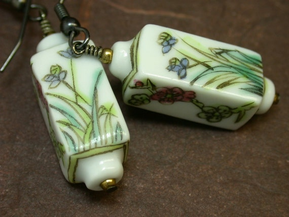 VINTAGE BEAD EARRINGS Garden Variety - Chinese Porcelain Flowers