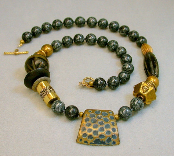 Vintage Necklace Black Fossil Stone, African Wood, Brass -Geology 101