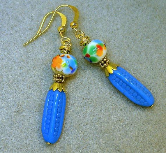 Mystery Garden Vintage Bead Earrings - Japanese Rainbow Millefiori,Sky Blue Dimpled Glass