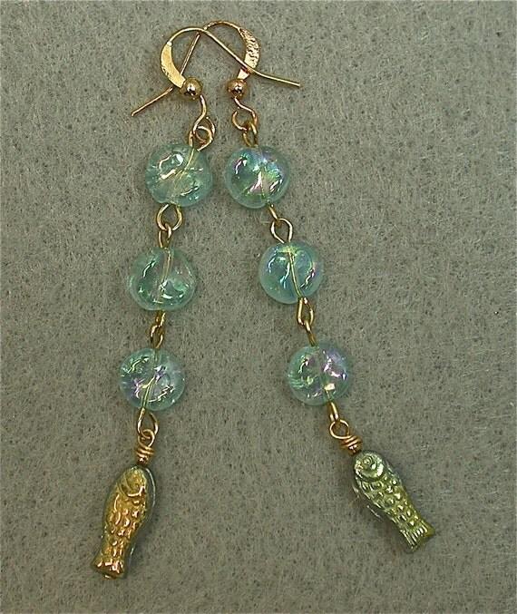 Vintage Bead Earrings Sea Bubbles - German Gold Glass Fish , Aqua Glass
