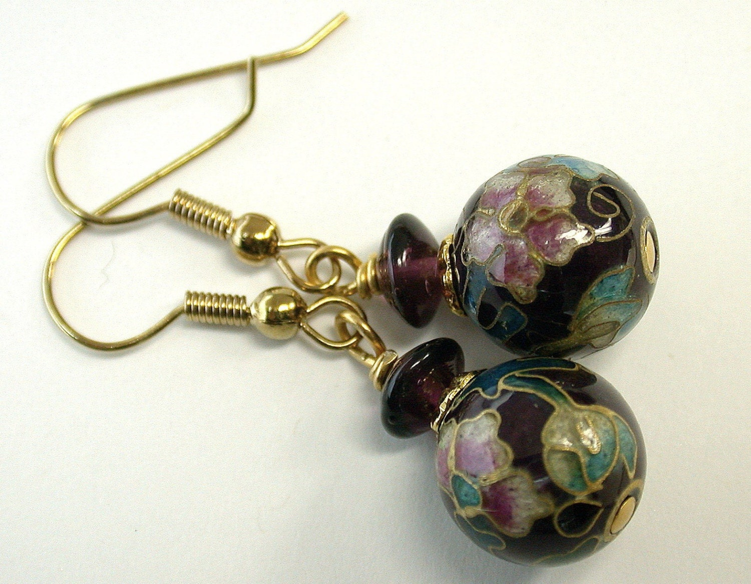 vintage cloisonne bead earrings purpleturquoise
