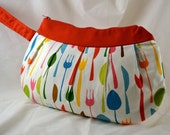 Smart and Sassy Red Retro Kitchen Silverware Forks and Spoons Clutch Wristlet