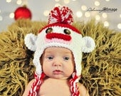 RTS Sock Monkey Hat 3m to 6m Baby Girl Boys Red White Crochet Ready to SHIP Photo Prop Clothes Gender Neutral Halloween Costume CHRISTMAS
