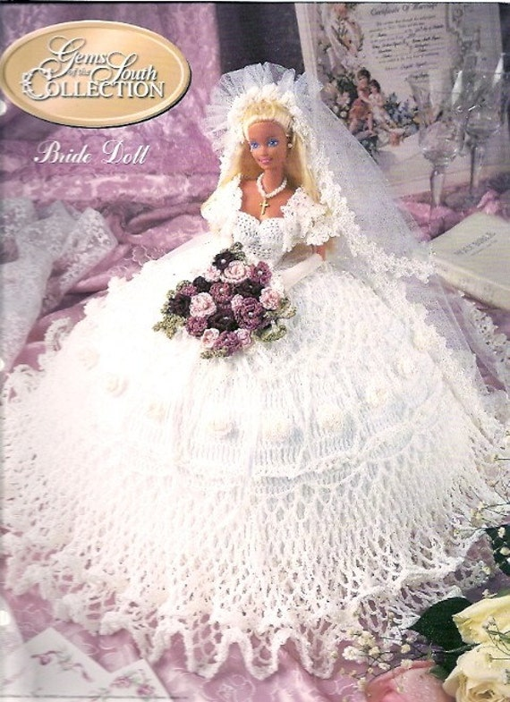Crochet Doll Clothes Pattern Book-Bride Wedding Dress-Gems South ...