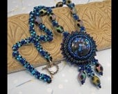 KIT- Peacock Necklace bead embroidered