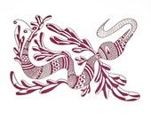 Letterpress Print - An Elegant Flying Beastie called NGA by BeastlyBeasties