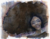 Illustration - Good Hair Day // Limited Edition Art Print // Portrait Afro Hair