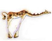 "Giraffe Greeting Card // Blank Illustrated Animal Friendship Birthday Anniversary Holiday Gift Card 4"" x 5"""