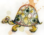 """Turtle Greeting Card // Blank Illustrated Animal Friendship Birthday Anniversary Holiday Gift Card 4"""" x 5"""""""