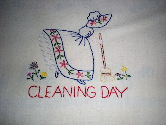 Cleaning Day Embroidered Dish Towel