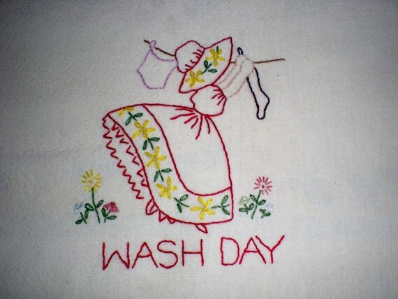 Wash Day Embroidered Dish Towel