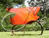 Metal art sculpture Red Fish from the Sticks welded painted steel