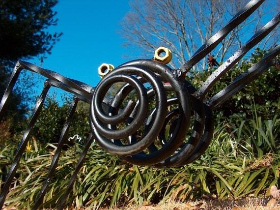 Metal Art Sculpture Black Spider Garden Art Yard Art Yellow