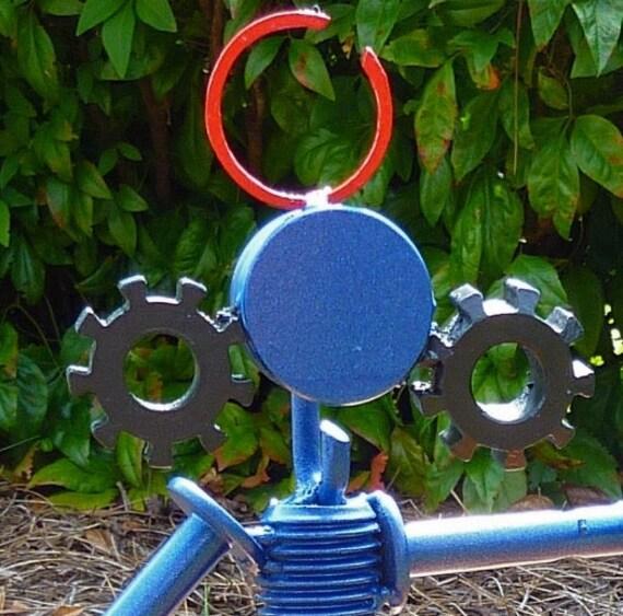 Blue Robot metal sclupture
