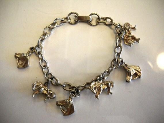 Cowgirl Horse Charm Bracelet