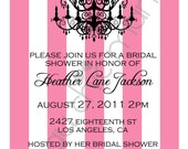 Printable Print Your Own Pink Stripes Chandelier Bridal Shower Invitation