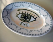 Eye diner plate hand painted reworked