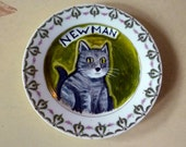CUSTOM cat portrait on a plate.