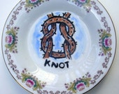Knot china plate hand painted reworked