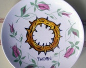 Thorn china plate hand painted reworked Small