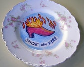 shoe on fire china plate hand painted reworked