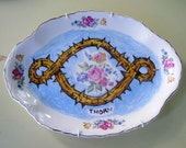 thorn china plate hand painted reworked large oval