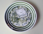 campsite china plate hand painted reworked