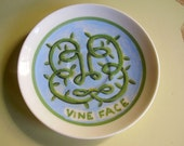 vine face china plate hand painted reworked