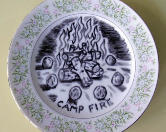 camp fire china plate hand painted reworked